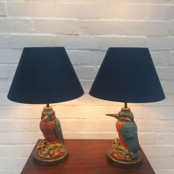 Pair of procelain Kingfisher lamps