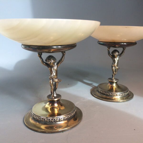 Pair of silver gilt & alabaster dishes