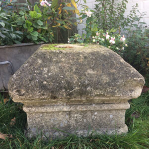 Large weathered stone piercap. 19th century or earlier.