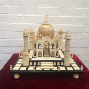 Large ebony & Ivorine table top model of the Taj Mahal. Indian circa 1900.