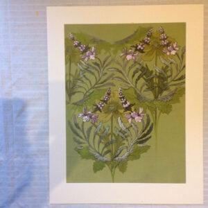 original gouache textile design. French 1930s. Mount 68cm x 86cm